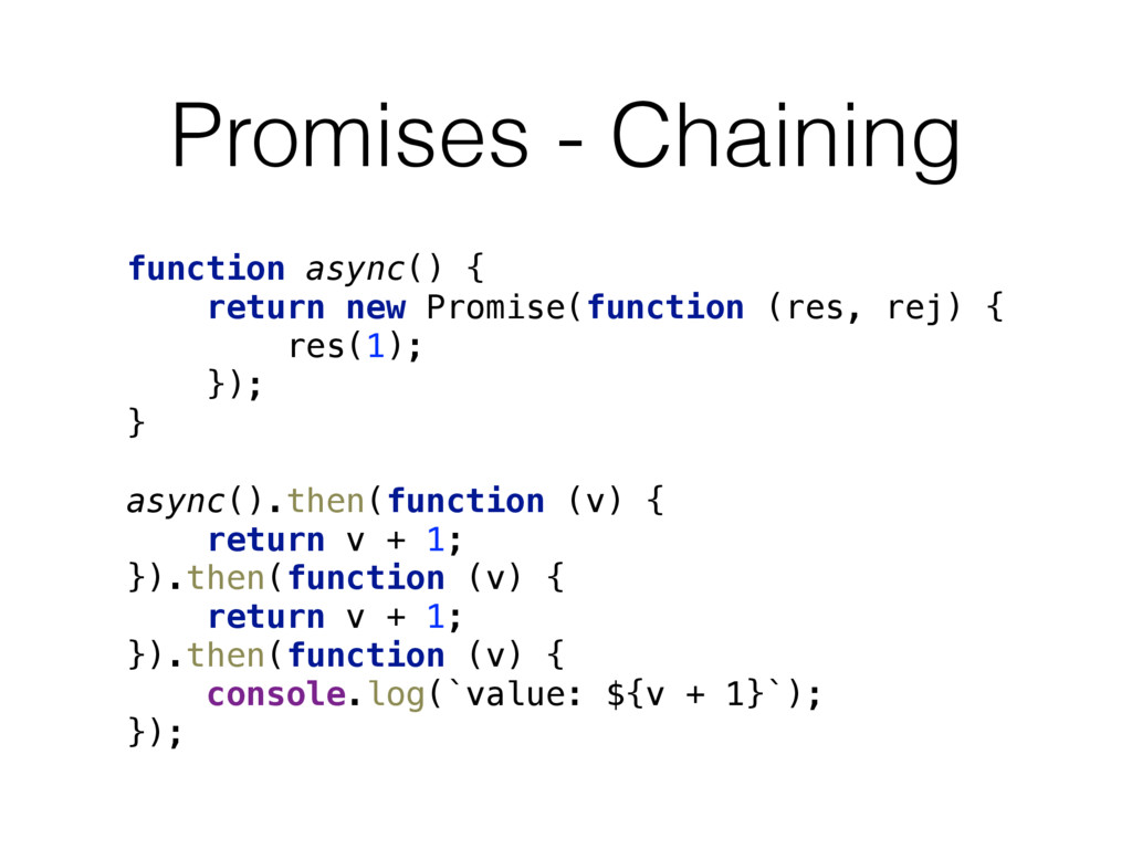 Promises - Chaining function async() {
