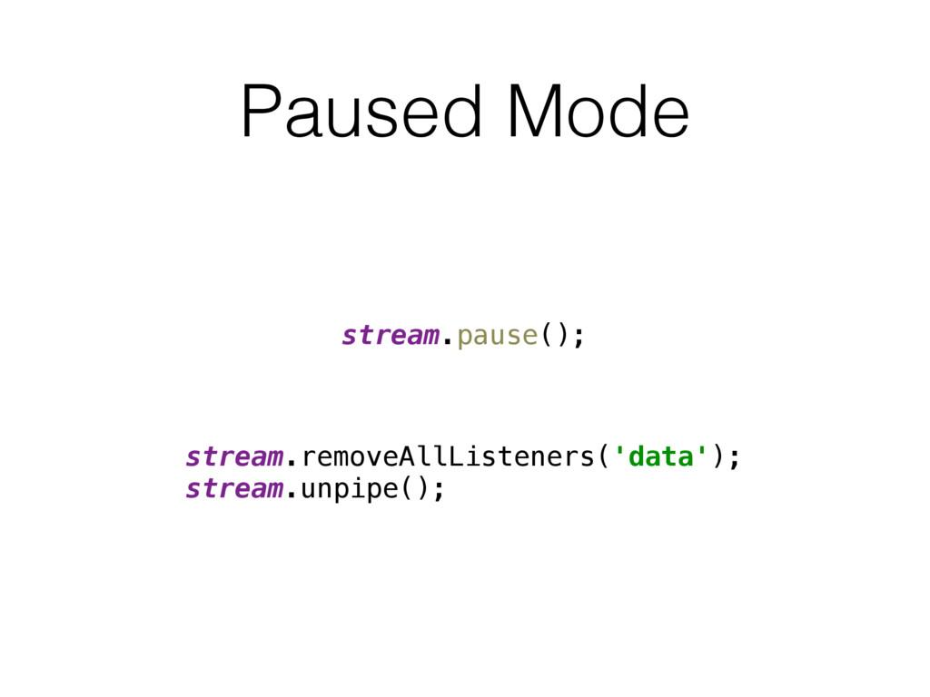 Paused Mode stream.pause(); stream.removeAllLis...