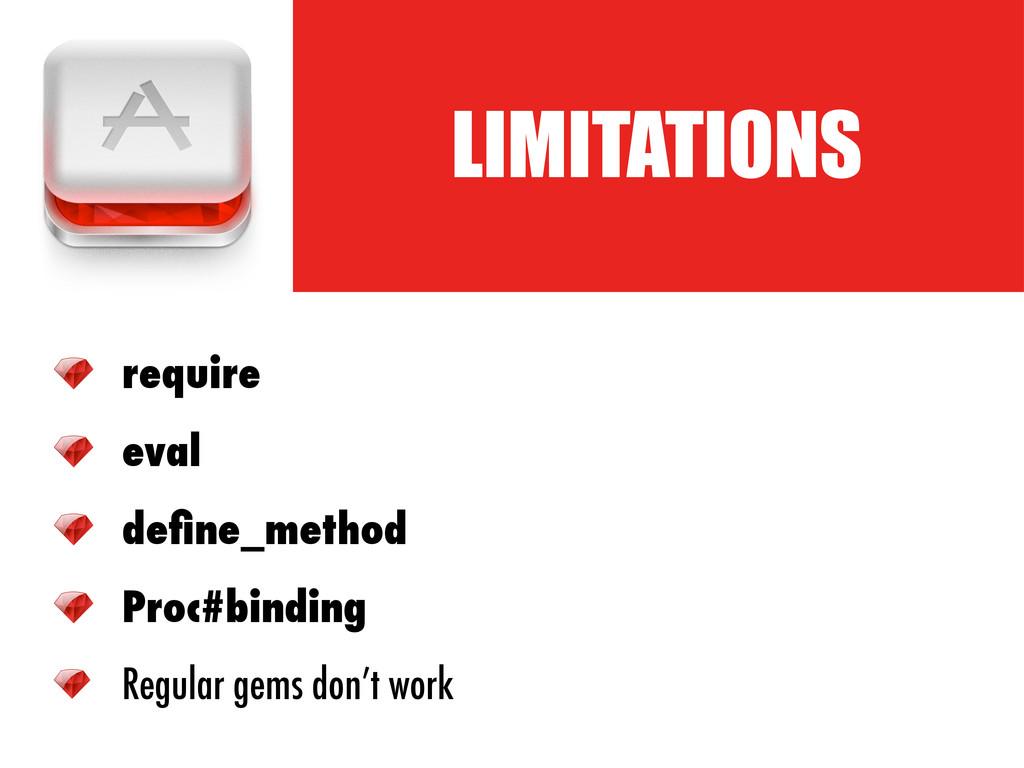 LIMITATIONS require eval define_method Proc#bind...