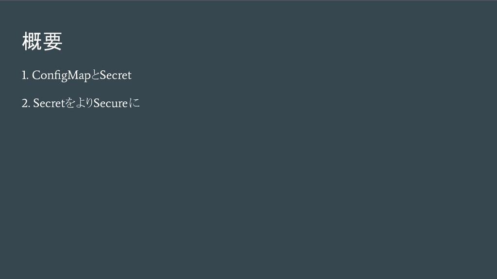 概要 1. ConfigMap と Secret 2. Secret をより Secure に