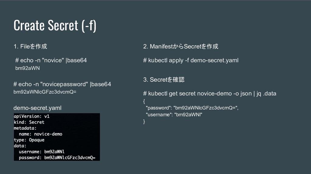 "Create Secret (-f) 1. Fileを作成 # echo -n ""novice..."