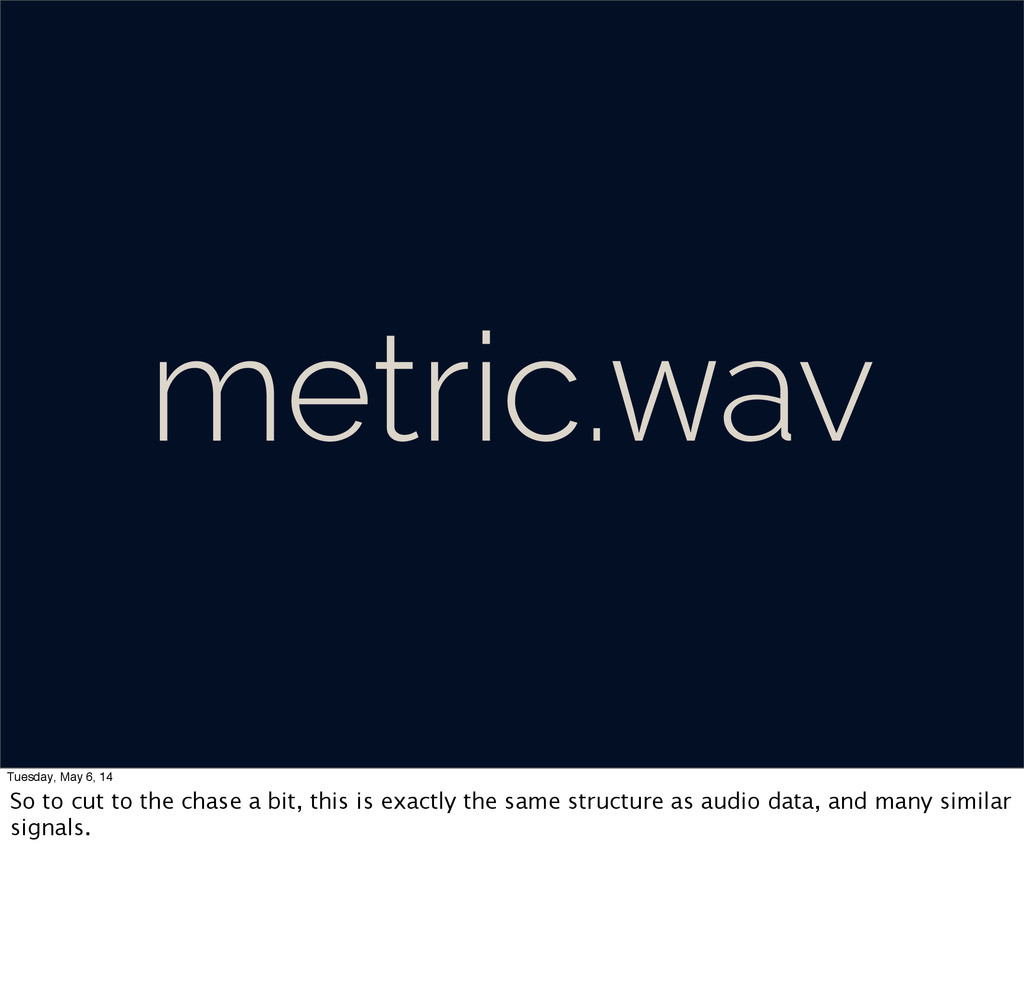 metric.wav Tuesday, May 6, 14 So to cut to the ...