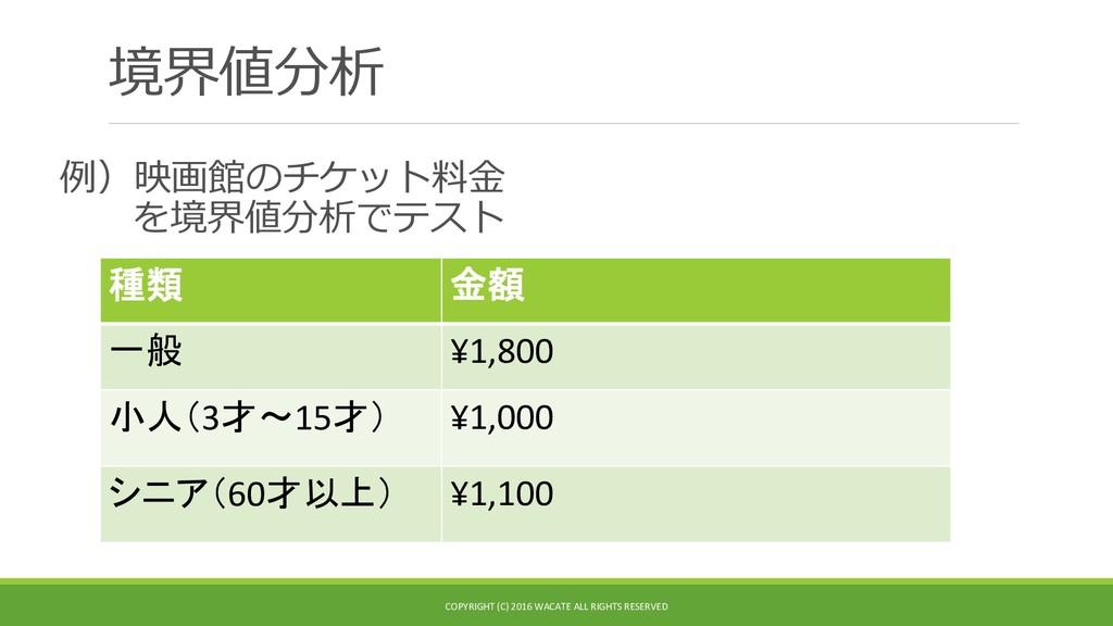 境界値分析 例)映画館のチケット料金 を境界値分析でテスト 種類 金額 一般 ¥1,800 小...