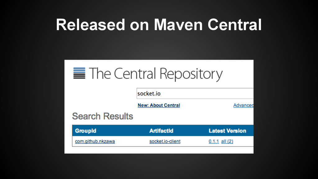 Released on Maven Central
