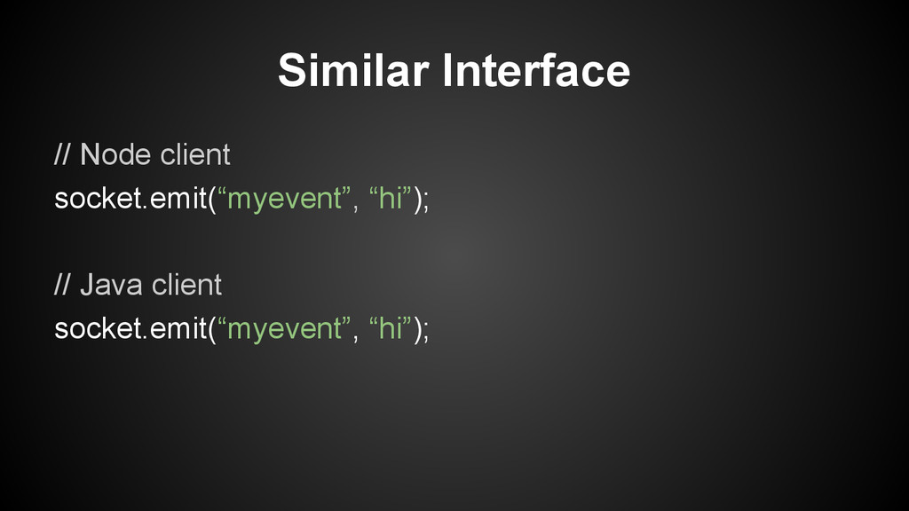 "Similar Interface // Node client socket.emit(""m..."