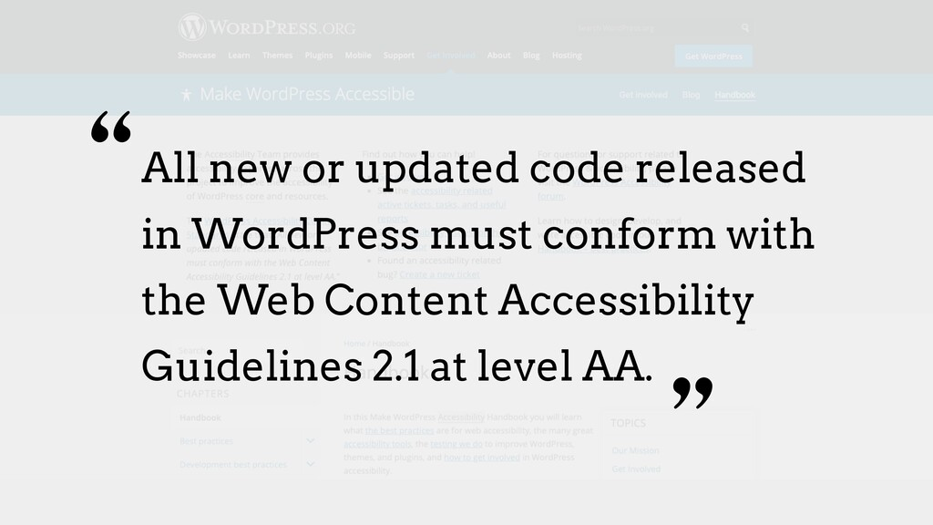All new or updated code released in WordPress m...