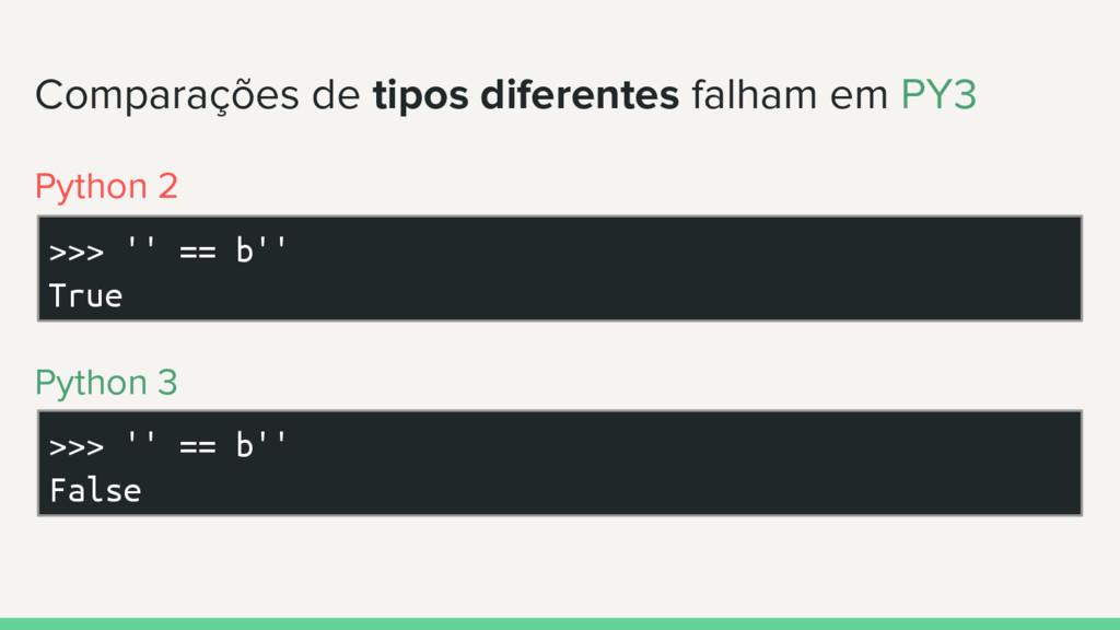 Comparações de tipos diferentes falham em PY3 >...