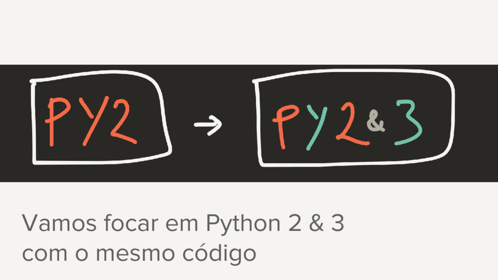 Vamos focar em Python 2 & 3 com o mesmo código