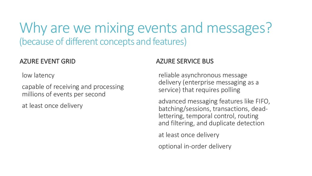 Why are we mixing events and messages? (because...