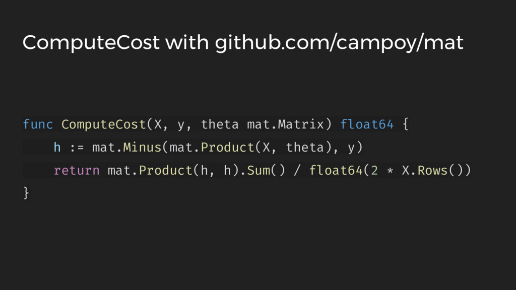 ComputeCost with github.com/campoy/mat func Com...