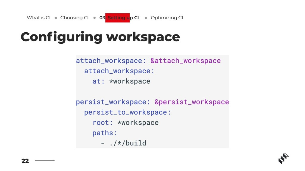 22 Configuring workspace What is CI Optimizing C...