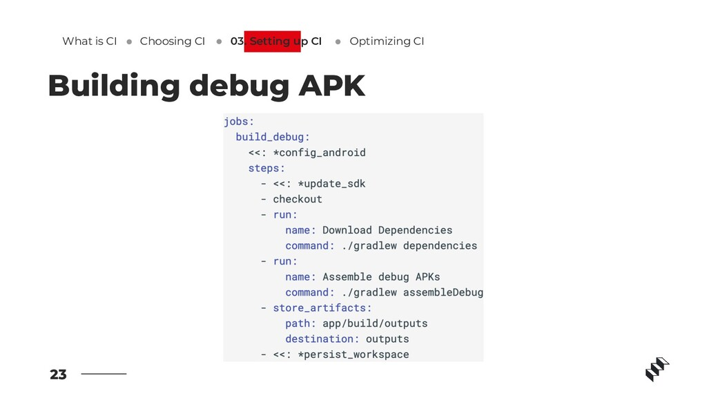 23 Building debug APK What is CI Optimizing CI ...
