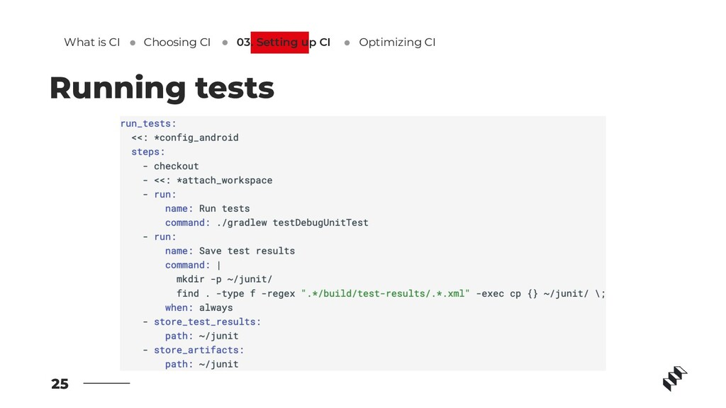 25 Running tests What is CI Optimizing CI 03. S...