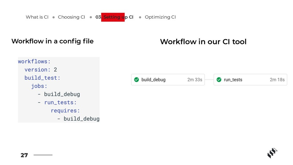 27 Workflow in a config file Workflow in our CI too...