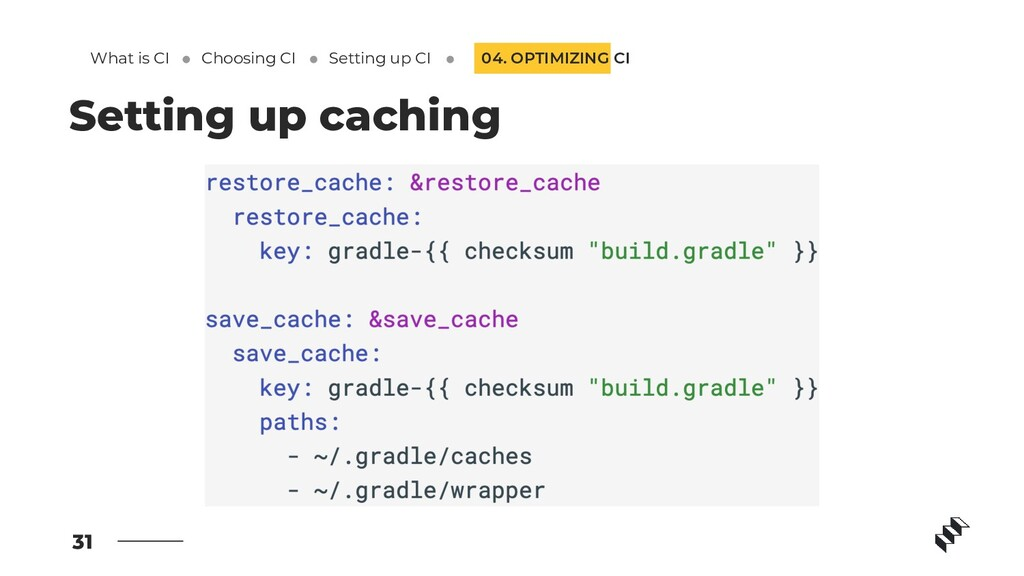 31 Setting up caching 04. OPTIMIZING CI What is...