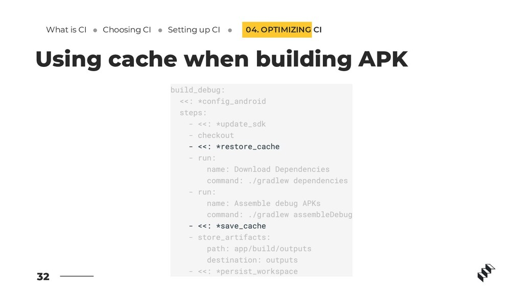 32 Using cache when building APK 04. OPTIMIZING...