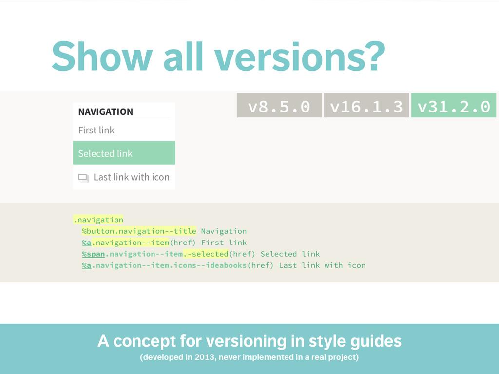 Show all versions? v31.2.0 v16.1.3 v8.5.0 A con...