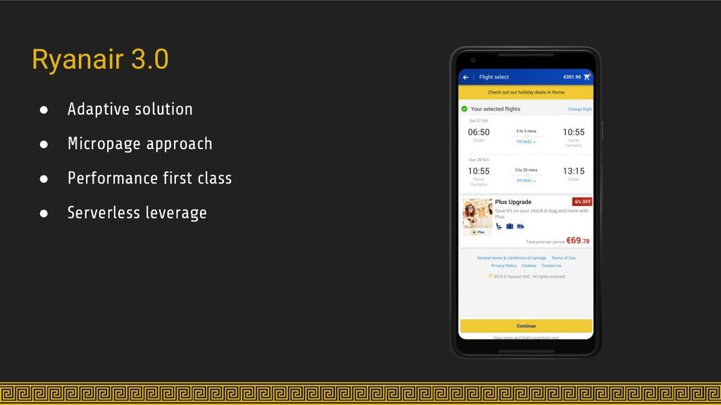 Ryanair 3.0 ● Adaptive solution ● Micropage app...