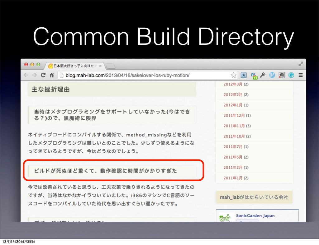 Common Build Directory 135݄30༵