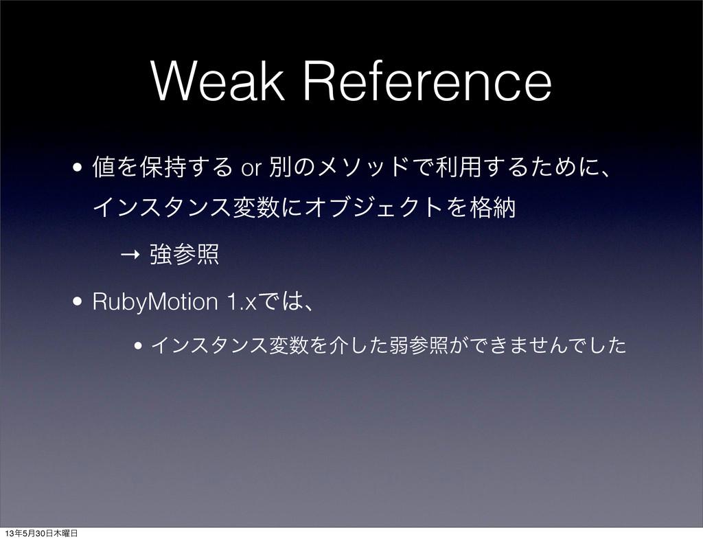 Weak Reference • Λอ͢Δ or ผͷϝιουͰར༻͢ΔͨΊʹɺ Πϯελ...