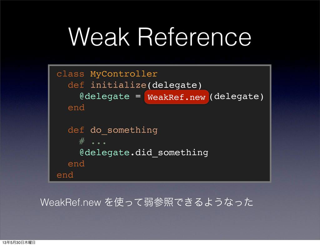 Weak Reference class MyController def initializ...