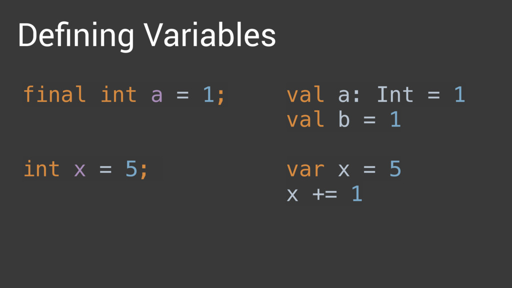 Defining Variables val a: Int = 1