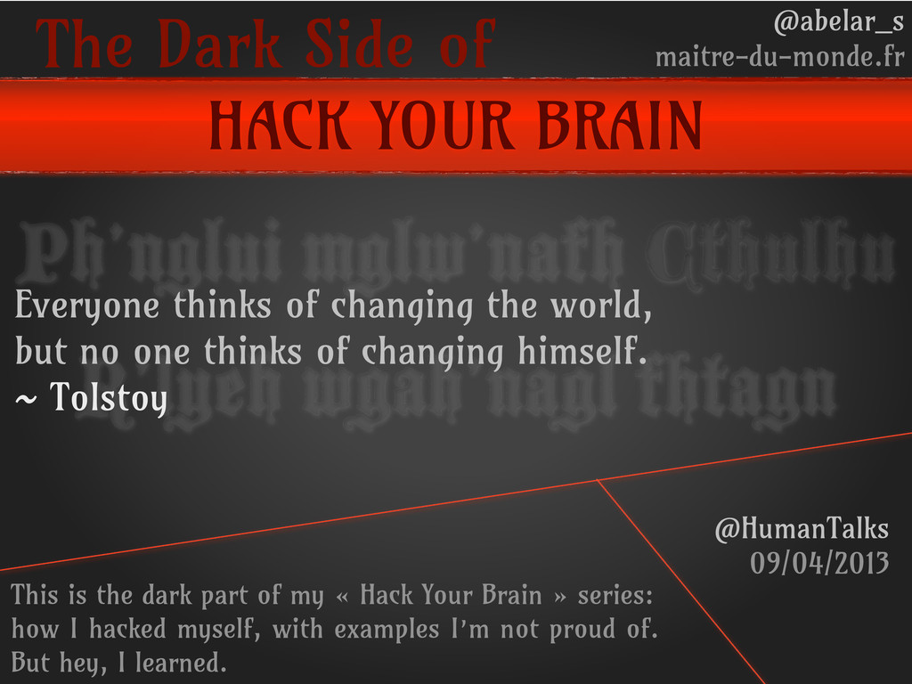 The Dark Side of HACK YOUR BRAIN @abelar_s mait...