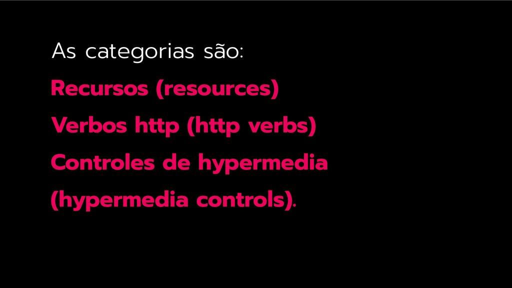 As categorias são: Recursos (resources) Verbos ...