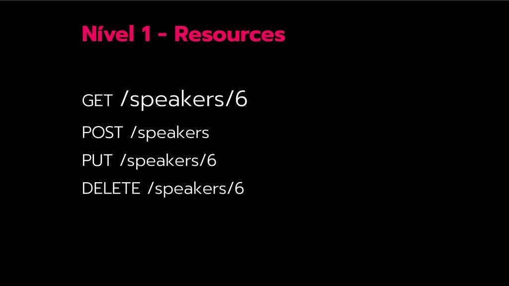 Nível 1 - Resources GET /speakers/6 POST /speak...