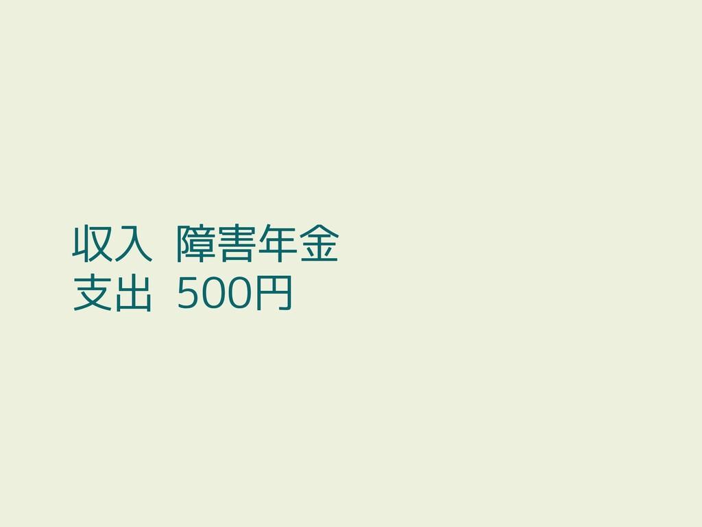 収入 障害年金 支出 500円