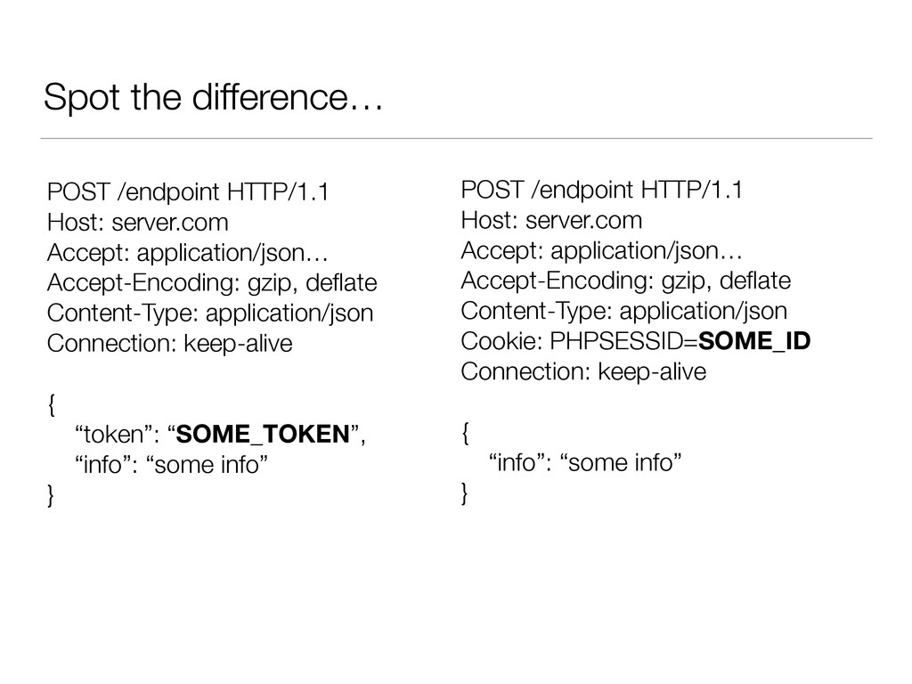 Spot the difference… POST /endpoint HTTP/1.1 Ho...