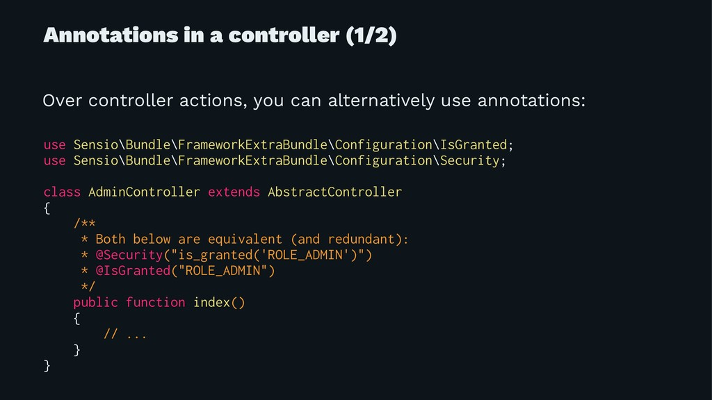 Annotations in a controller (1/2) Over controll...