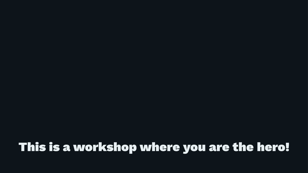 This is a workshop where you are the hero!