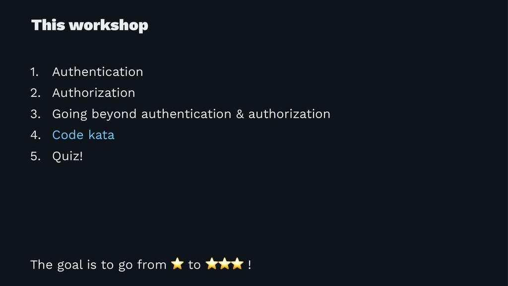 This workshop 1. Authentication 2. Authorizatio...