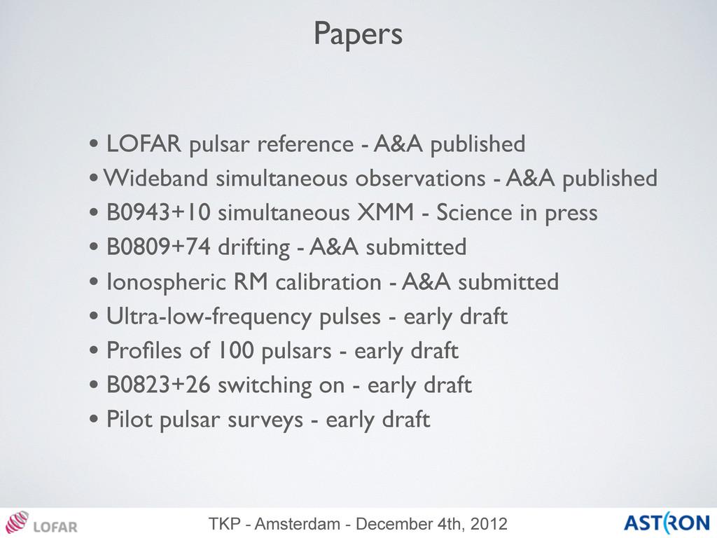 TKP - Amsterdam - December 4th, 2012 Papers • L...