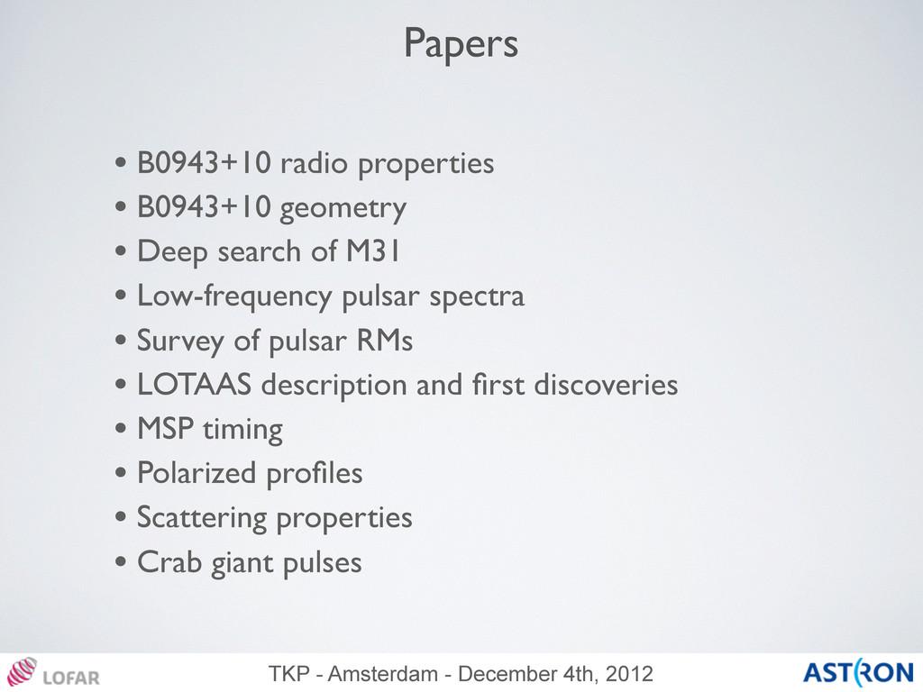 TKP - Amsterdam - December 4th, 2012 Papers • B...