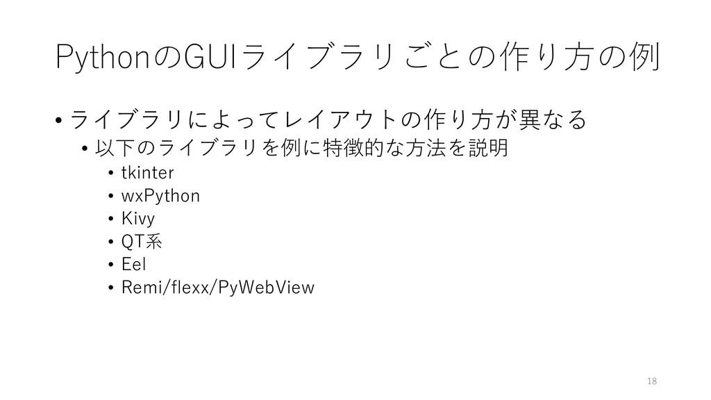 PythonのGUIライブラリごとの作り方の例 • ライブラリによってレイアウトの作り方が異な...