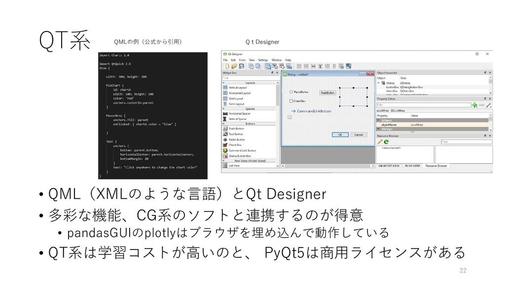 QT系 • QML(XMLのような言語)とQt Designer • 多彩な機能、CG系のソフ...
