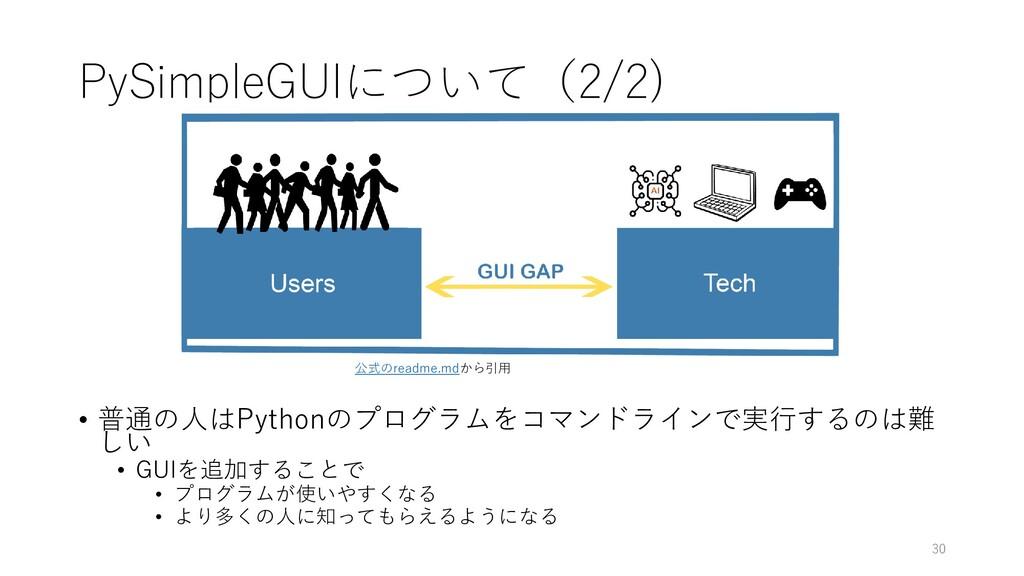 PySimpleGUIについて(2/2) • 普通の人はPythonのプログラムをコマンドライ...