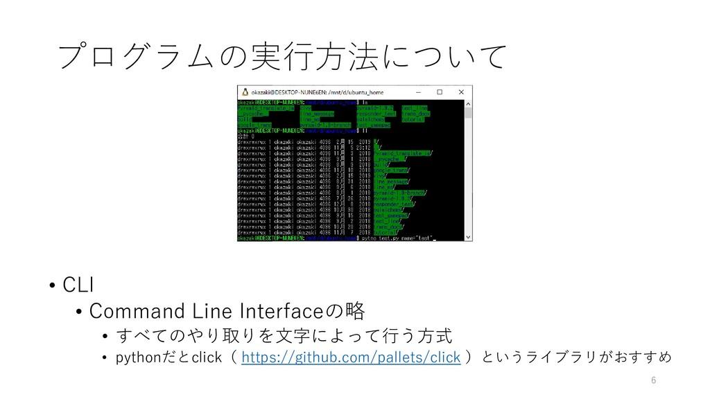 プログラムの実行方法について • CLI • Command Line Interfaceの略...