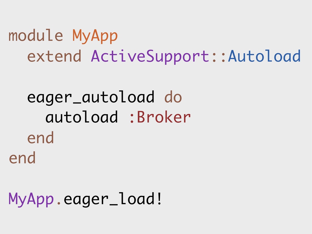 module MyApp extend ActiveSupport::Autoload eag...