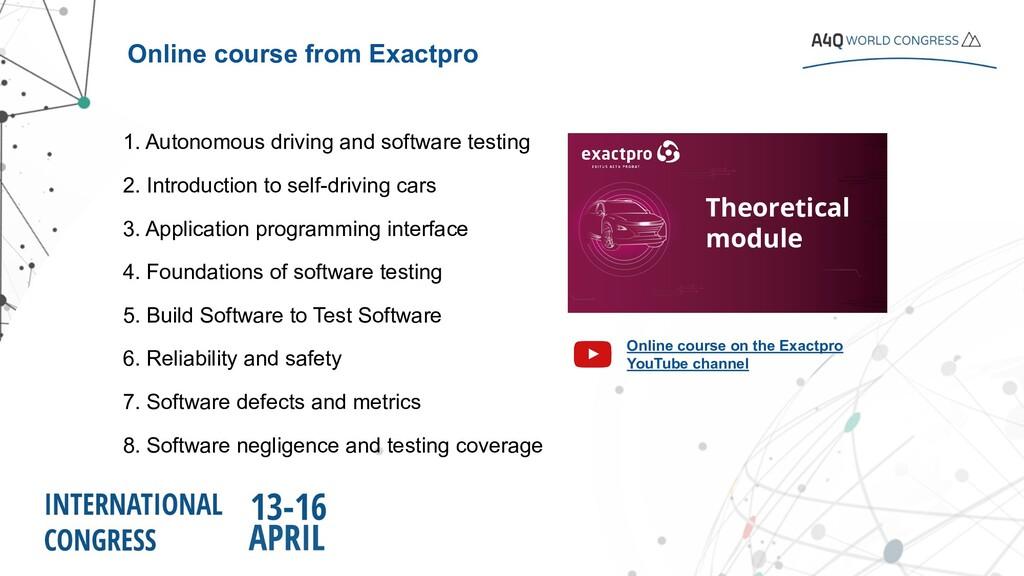 1. Autonomous driving and software testing 2. I...