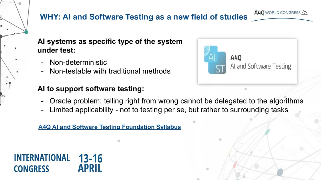 AI systems as specific type of the system under...