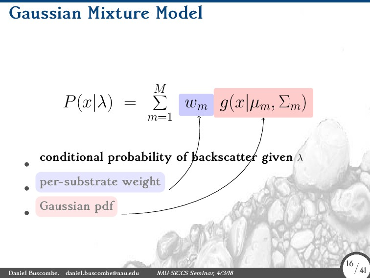 Gaussian Mixture Model P(x|λ) = M ∑ m=1 wm g(x|...