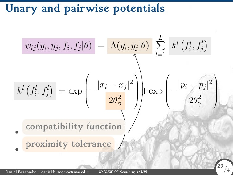 Unary and pairwise potentials ψij (yi, yj, fi, ...