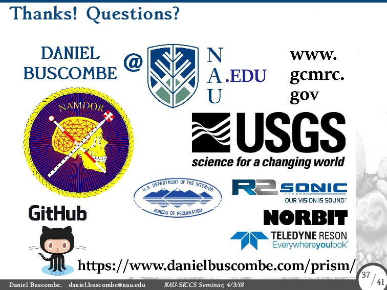 Thanks! Questions? Daniel Buscombe. daniel.busc...