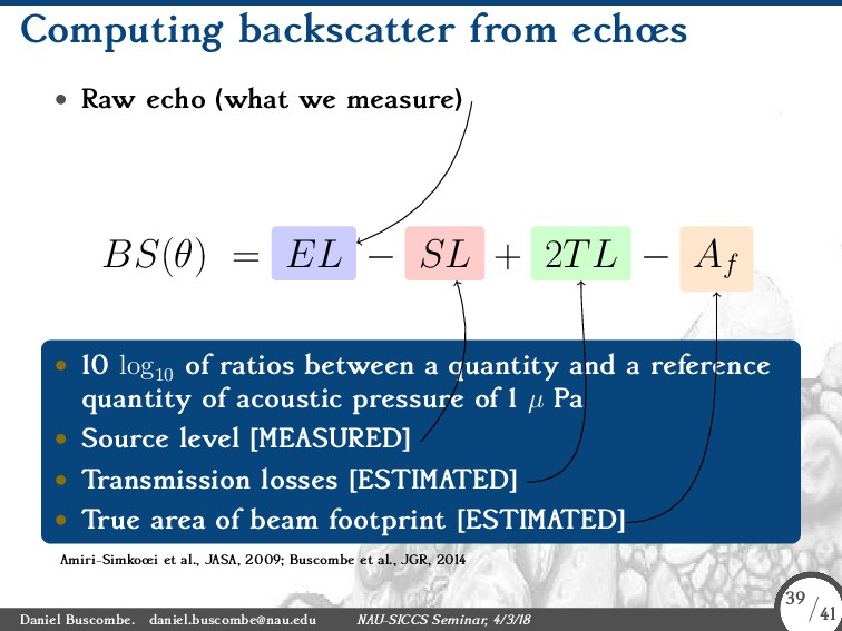 Computing backscatter from echœs • Raw echo (wh...