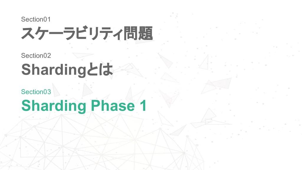 スケーラビリティ問題 Shardingとは Sharding Phase 1 Section0...
