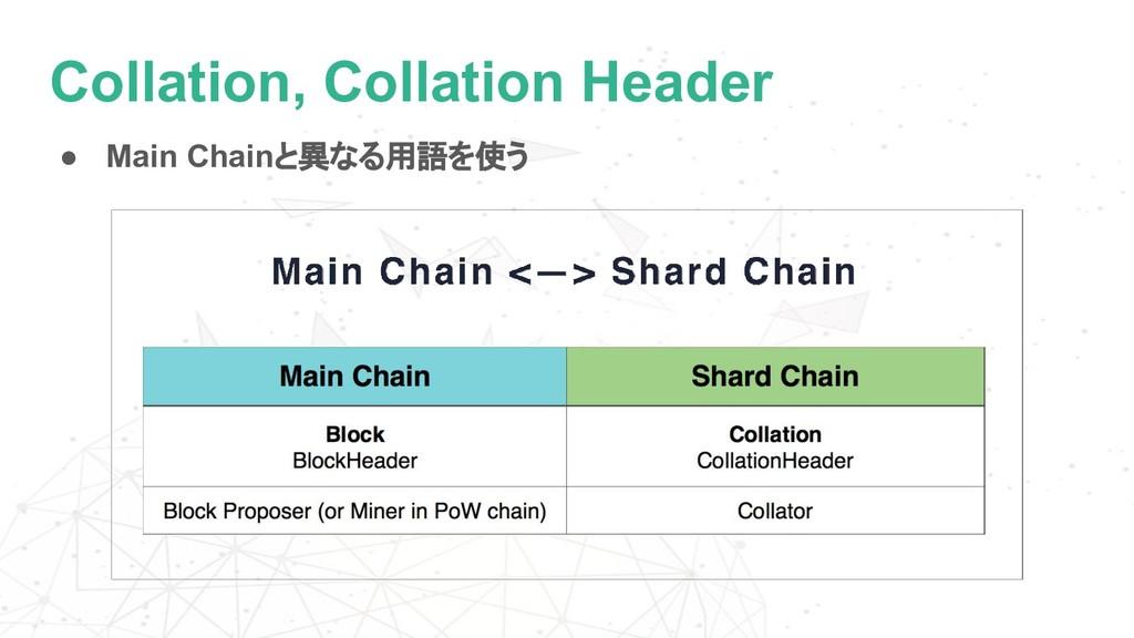 Collation, Collation Header ● Main Chainと異なる用語を...