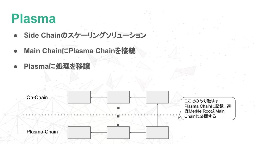 Plasma ● Side Chainのスケーリングソリューション ● Main Chainに...
